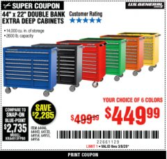 "Harbor Freight Coupon 44"" DOUBLE BANK TOP CHESTS Lot No. 64438/64439/64440/64280/64293/64158/64435/64436/64437/64957/64958/64959 Expired: 3/8/20 - $449.99"
