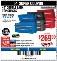 "Harbor Freight Coupon 44"" DOUBLE BANK TOP CHESTS Lot No. 64438/64439/64440/64280/64293/64158/64435/64436/64437/64957/64958/64959 Expired: 7/29/18 - $269.99"