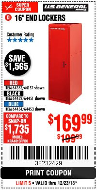 "Harbor Freight Coupon 16"" END LOCKERS Lot No. 64353/64157/64452/64451/64454/64453 Expired: 12/23/18 - $169.99"