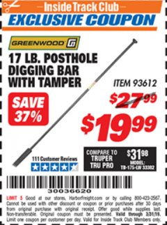 Harbor Freight ITC Coupon 17 LB. POSTHOLE DIGGING BAR WITH TAMPER Lot No. 61322/93612 Valid Thru: 3/31/19 - $19.99