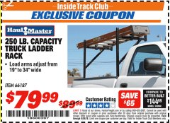 Harbor Freight ITC Coupon 250 LB. CAPACITY TRUCK LADDER RACK Lot No. 66187 Expired: 9/30/18 - $79.99