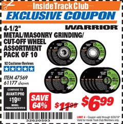"Harbor Freight ITC Coupon 4-1/2"" METAL/MASONRY GRINDING/CUT-OFF WHEELS ASSORTED SET - PACK OF 10 Lot No. 47569/61177 Expired: 9/30/19 - $6.99"