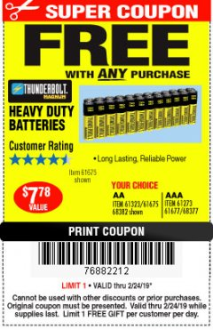 Harbor Freight FREE Coupon 24 PACK HEAVY DUTY BATTERIES Lot No. 61675/68382/61323/61677/68377/61273 Expired: 2/24/19 - FWP