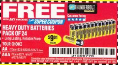 Harbor Freight FREE Coupon 24 PACK HEAVY DUTY BATTERIES Lot No. 61675/68382/61323/61677/68377/61273 Valid Thru: 5/31/19 - FWP