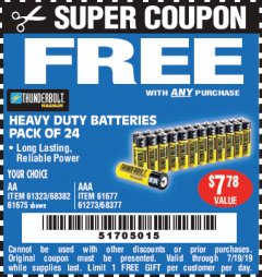 Harbor Freight FREE Coupon 24 PACK HEAVY DUTY BATTERIES Lot No. 61675/68382/61323/61677/68377/61273 Valid Thru: 7/19/19 - FWP