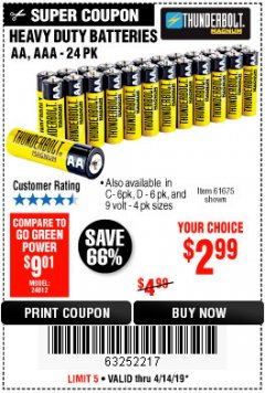 Harbor Freight Coupon 24 PACK HEAVY DUTY BATTERIES Lot No. 61675/68382/61323/61677/68377/61273 Expired: 4/14/19 - $2.99