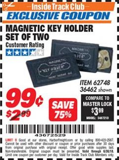 Harbor Freight ITC Coupon MAGNETIC KEY HOLDER SET OF TWO Lot No. 62748/36462 Expired: 6/30/18 - $0.99