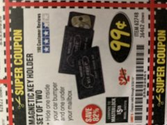 Harbor Freight Coupon MAGNETIC KEY HOLDER SET OF TWO Lot No. 62748/36462 Expired: 8/31/19 - $0.99
