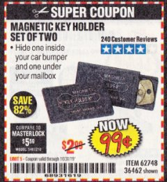 Harbor Freight Coupon MAGNETIC KEY HOLDER SET OF TWO Lot No. 62748/36462 Valid Thru: 10/31/19 - $0.99