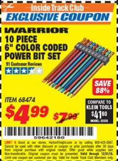 "Harbor Freight ITC Coupon 10 PIECE 6"" COLOR CODED POWER BIT SET Lot No. 68474 Expired: 12/31/18 - $4.99"