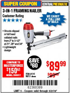 Harbor Freight Coupon 3-IN-1 FRAMING NAILER Lot No. 64141/98751 Expired: 5/21/18 - $89.99