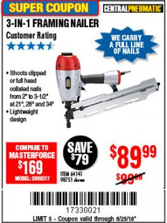 Harbor Freight Coupon 3-IN-1 FRAMING NAILER Lot No. 64141/98751 Expired: 6/25/18 - $89.99