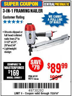 Harbor Freight Coupon 3-IN-1 FRAMING NAILER Lot No. 64141/98751 Expired: 7/23/18 - $89.99