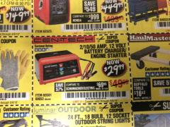 Harbor Freight Coupon 12 VOLT, 2/10/50 AMP BATTERY CHARGER/ENGINE STARTER Lot No. 66783/60581/60653/62334 Expired: 8/8/18 - $29.99