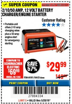 Harbor Freight Coupon 12 VOLT, 2/10/50 AMP BATTERY CHARGER/ENGINE STARTER Lot No. 66783/60581/60653/62334 Expired: 5/20/18 - $29.99