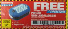 Harbor Freight FREE Coupon LED PORTABLE WORKLIGHT/FLASHLIGHT Lot No. 63878/63991/64005/69567/60566/63601/67227 Expired: 5/31/18 - FWP