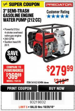 "Harbor Freight Coupon PREDATOR 3"" SEMI-TRASH GASOLINE ENGINE WATER PUMP Lot No. 63406/56162 Expired: 10/28/18 - $279.99"