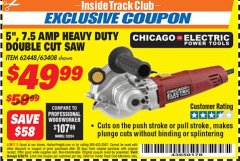 "Harbor Freight ITC Coupon 5"" DOUBLE CUT SAW Lot No. 63408/62448 Expired: 6/30/18 - $49.99"