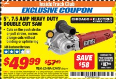 "Harbor Freight ITC Coupon 5"" DOUBLE CUT SAW Lot No. 63408/62448 Expired: 2/28/19 - $49.99"