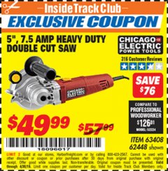 "Harbor Freight ITC Coupon 5"" DOUBLE CUT SAW Lot No. 63408/62448 Valid Thru: 4/30/19 - $49.99"