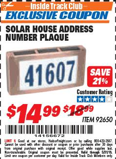 Harbor Freight ITC Coupon SOLAR HOUSE ADDRESS NUMBER PLAQUE Lot No. 92650 Expired: 5/31/18 - $14.99