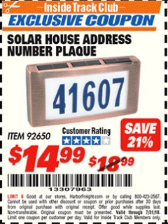 Harbor Freight ITC Coupon SOLAR HOUSE ADDRESS NUMBER PLAQUE Lot No. 92650 Expired: 7/31/18 - $14.99