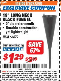 "Harbor Freight ITC Coupon 18"" LONG NECK BLACK FUNNEL Lot No. 66479 Expired: 5/31/18 - $1.29"