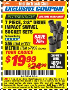 "Harbor Freight ITC Coupon 7 PIECE, 3/8"" DRIVE IMPACT SWIVEL SOCKET SETS Lot No. 67929, 67908 Expired: 5/31/18 - $19.99"