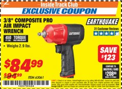 "Harbor Freight ITC Coupon 3/8"" COMPOSITE PRO AIR IMPACT WRENCH Lot No. 63061 Expired: 2/28/19 - $84.99"