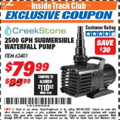 Harbor Freight ITC Coupon 2500 GPH SUBMERSIBLE WATERFALL PUMP Lot No. 63401 Expired: 5/31/18 - $79.99