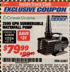 Harbor Freight ITC Coupon 2500 GPH SUBMERSIBLE WATERFALL PUMP Lot No. 63401 Valid Thru: 7/31/19 - $79.99