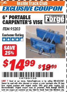 Harbor Freight ITC Coupon 6' PORTABLE CARPENTERS VISE Lot No. 95203 Expired: 5/31/18 - $14.99