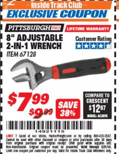 Harbor Freight ITC Coupon 8 IN. ADJUSTABLE 2- IN-1 WRENCH Lot No. 67128 Expired: 5/31/18 - $7.99