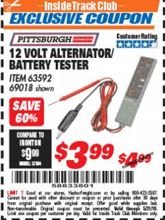 Harbor Freight ITC Coupon 12 VOLT ALTERNATOR / BATTERY TESTER Lot No. 63592 Expired: 5/31/18 - $3.99