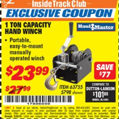 Harbor Freight ITC Coupon 1 TON CAPACITY HAND WINCH Lot No. 5798 Valid Thru: 2/28/19 - $23.99