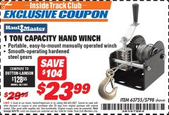 Harbor Freight ITC Coupon 1 TON CAPACITY HAND WINCH Lot No. 5798 Valid Thru: 8/31/19 - $23.99
