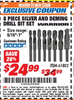 Harbor Freight ITC Coupon 8 PIECE SILVER AND DEMING DRILL BIT SET Lot No. 61802 Expired: 5/31/18 - $24.99
