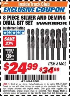 Harbor Freight ITC Coupon 8 PIECE SILVER AND DEMING DRILL BIT SET Lot No. 61802 Expired: 11/30/18 - $24.99
