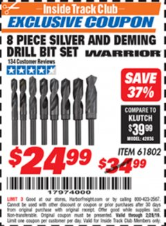 Harbor Freight ITC Coupon 8 PIECE SILVER AND DEMING DRILL BIT SET Lot No. 61802 Dates Valid: 12/31/69 - 2/28/19 - $24.99