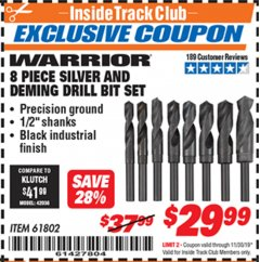Harbor Freight ITC Coupon 8 PIECE SILVER AND DEMING DRILL BIT SET Lot No. 61802 Expired: 11/30/19 - $29.99