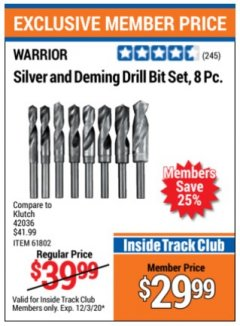Harbor Freight ITC Coupon 8 PIECE SILVER AND DEMING DRILL BIT SET Lot No. 61802 Expired: 12/3/20 - $29.99
