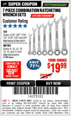Harbor Freight ITC Coupon 7 PIECE COMBINATION RATCHETING WRENCH SET Lot No. 96654/61396/62571/95552/62572/61400 Expired: 1/10/19 - $19.99