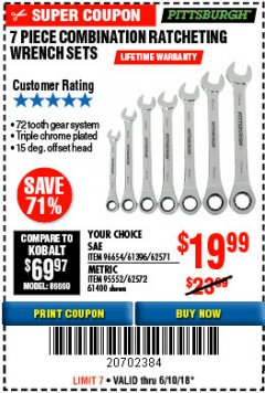 Harbor Freight Coupon 7 PIECE COMBINATION RATCHETING WRENCH SET Lot No. 96654/61396/62571/95552/62572/61400 Expired: 6/10/18 - $19.99