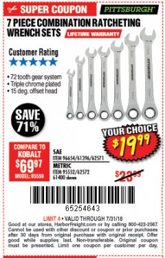 Harbor Freight Coupon 7 PIECE COMBINATION RATCHETING WRENCH SET Lot No. 96654/61396/62571/95552/62572/61400 Expired: 7/31/18 - $19.99