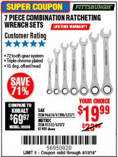 Harbor Freight Coupon 7 PIECE COMBINATION RATCHETING WRENCH SET Lot No. 96654/61396/62571/95552/62572/61400 Expired: 8/13/18 - $19.99