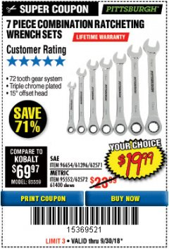 Harbor Freight Coupon 7 PIECE COMBINATION RATCHETING WRENCH SET Lot No. 96654/61396/62571/95552/62572/61400 Expired: 9/30/18 - $19.99