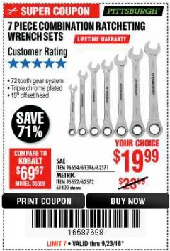 Harbor Freight Coupon 7 PIECE COMBINATION RATCHETING WRENCH SET Lot No. 96654/61396/62571/95552/62572/61400 Expired: 9/23/18 - $19.99