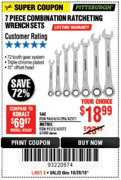 Harbor Freight Coupon 7 PIECE COMBINATION RATCHETING WRENCH SET Lot No. 96654/61396/62571/95552/62572/61400 Expired: 10/28/18 - $18.99