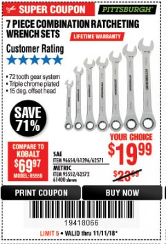 Harbor Freight Coupon 7 PIECE COMBINATION RATCHETING WRENCH SET Lot No. 96654/61396/62571/95552/62572/61400 Expired: 11/11/18 - $19.99
