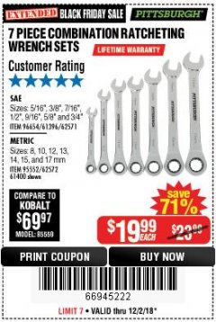 Harbor Freight Coupon 7 PIECE COMBINATION RATCHETING WRENCH SET Lot No. 96654/61396/62571/95552/62572/61400 Expired: 12/2/18 - $19.99